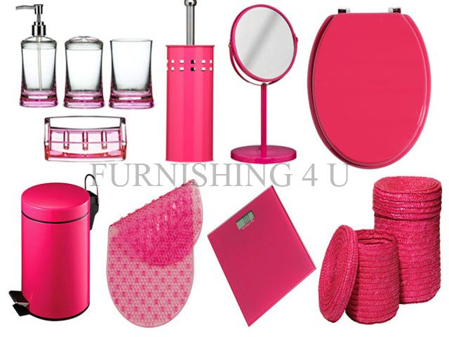 Attrayant 11PC HOT PINK BATHROOM ACCESSORIES SET, BIN, TOILET SEAT, BRUSH, MIRROR,