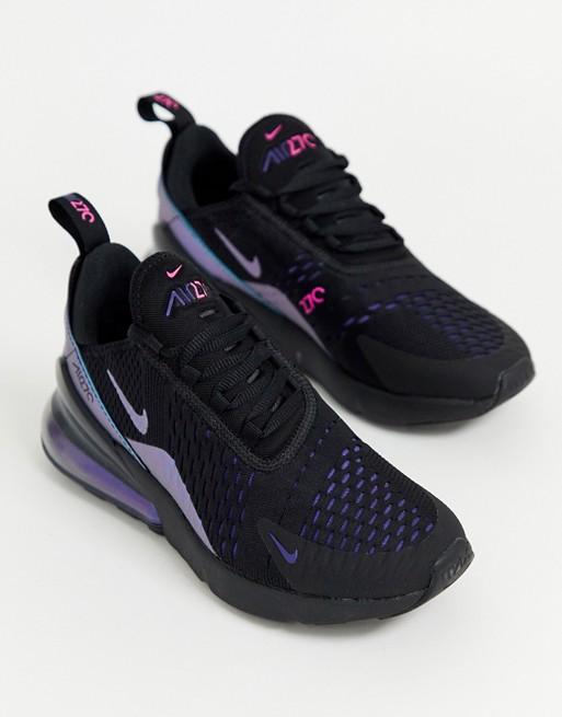 mejor calidad moda atractiva descuento de venta caliente Nike Air Max 270 sneakers in black and blue | Nike air, Air max ...