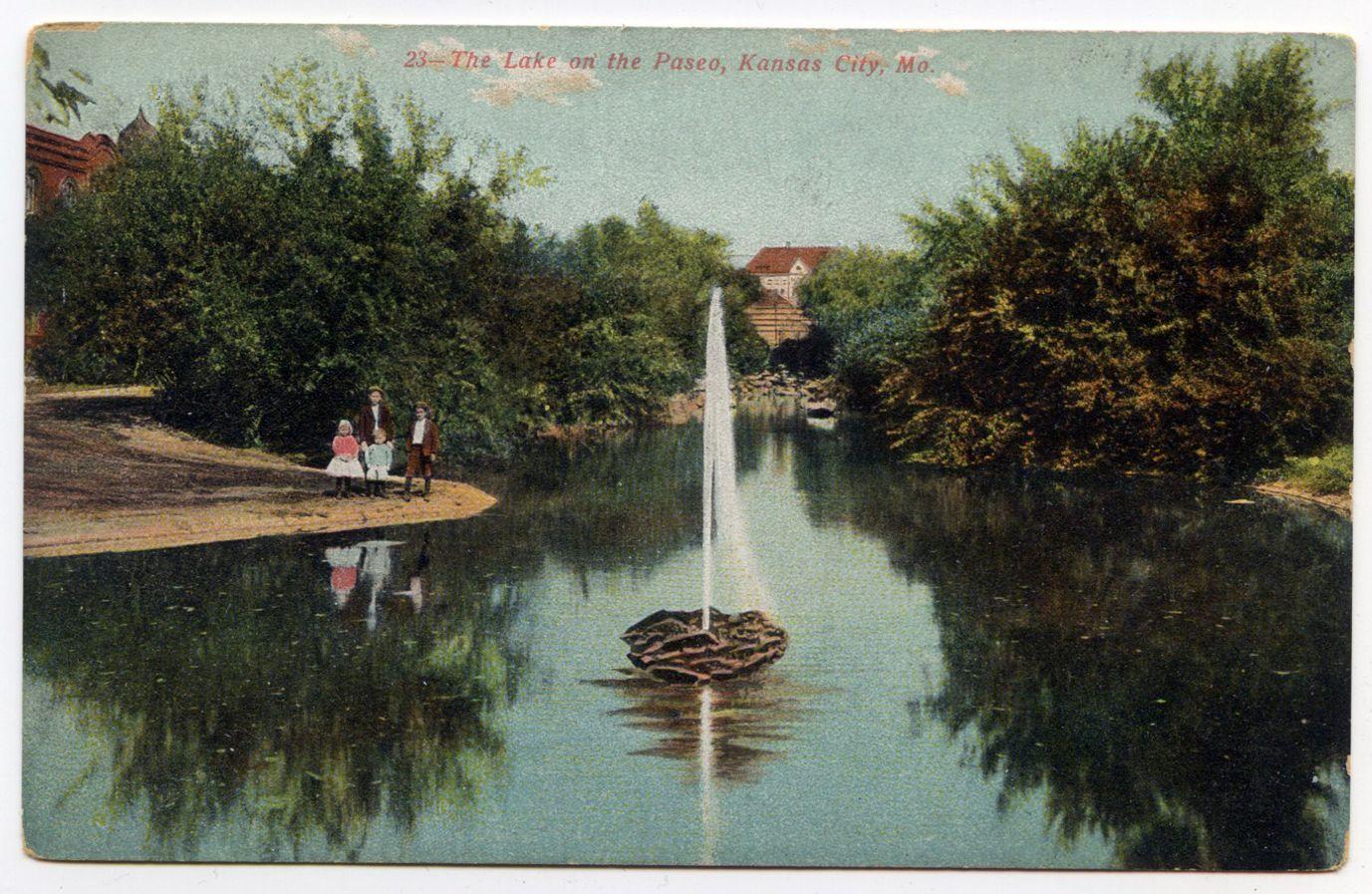 Vintage Postcard The Lake On The Paseo Kansas City Missouri