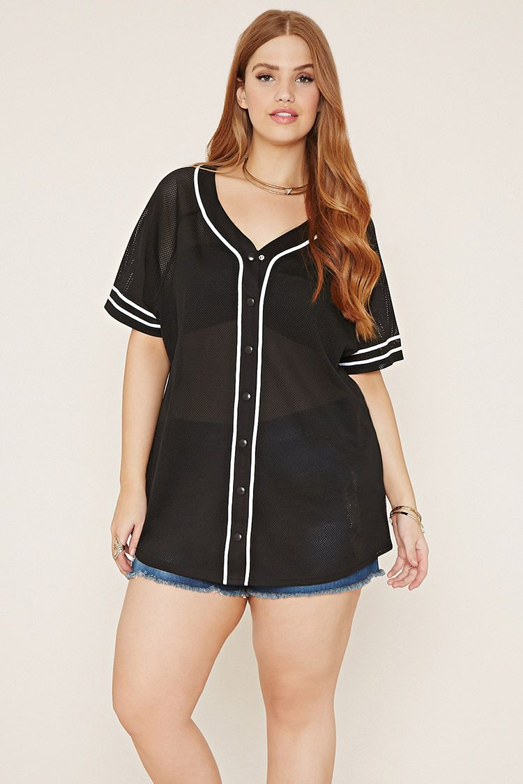 Forever 21 + This baseball jersey is crafted from a semi
