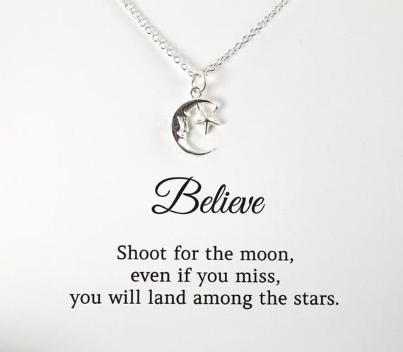 shoot for the moon necklace inspirational quote graduation gift