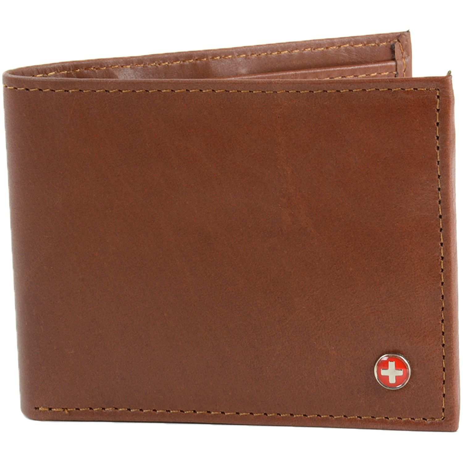 Mens Genuine Leather Wallet trifold ID Cases Credit Card Holder Billfold Brown