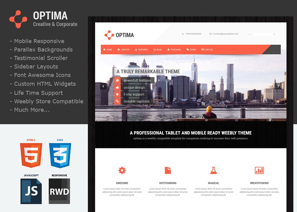 Optima - This custom Weebly Template shows off some