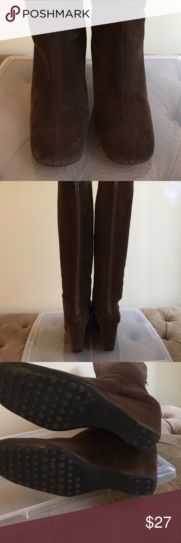 Franco Sarto boots Suede tall boots.  Back zip.  3 inch wedge heel. Franco Sarto Shoes Heeled Boots