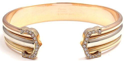 df51b070c1919 Authentic Cartier 18K Tri Color Gold Diamond Double C Cuff Bangle ...