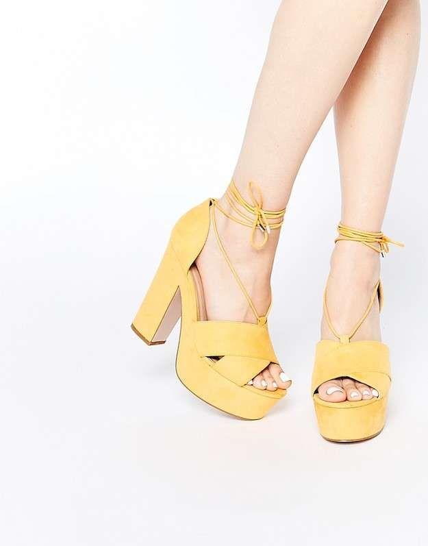 8a701a9f Zapatos pastel invierno 2016: fotos de los modelos - Sandalias amarillo  pastel Asos