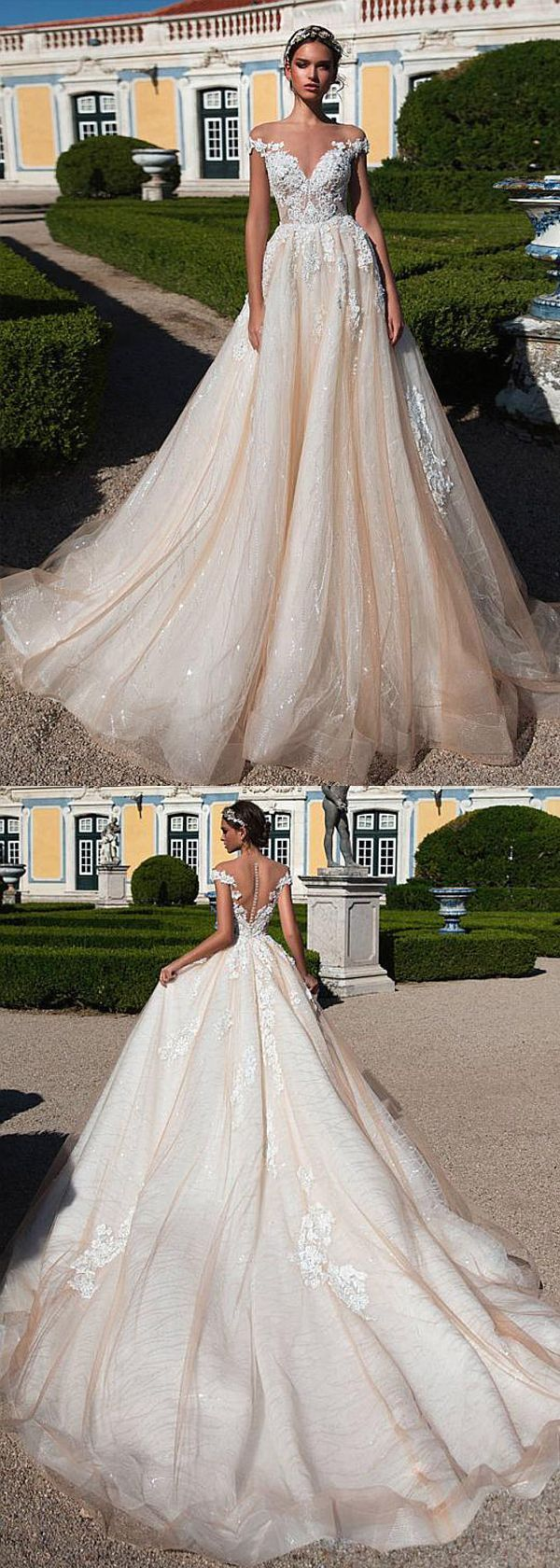 Wunderschöne Tüll Sheer Jewel Ausschnitt Natural Waistline A-Line Brautkleid mit #gorgeousgowns