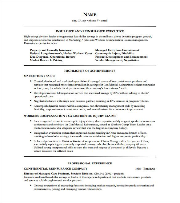 Executive Resumes Templates Insurance Executive Resume Free  Executive Resume Template And