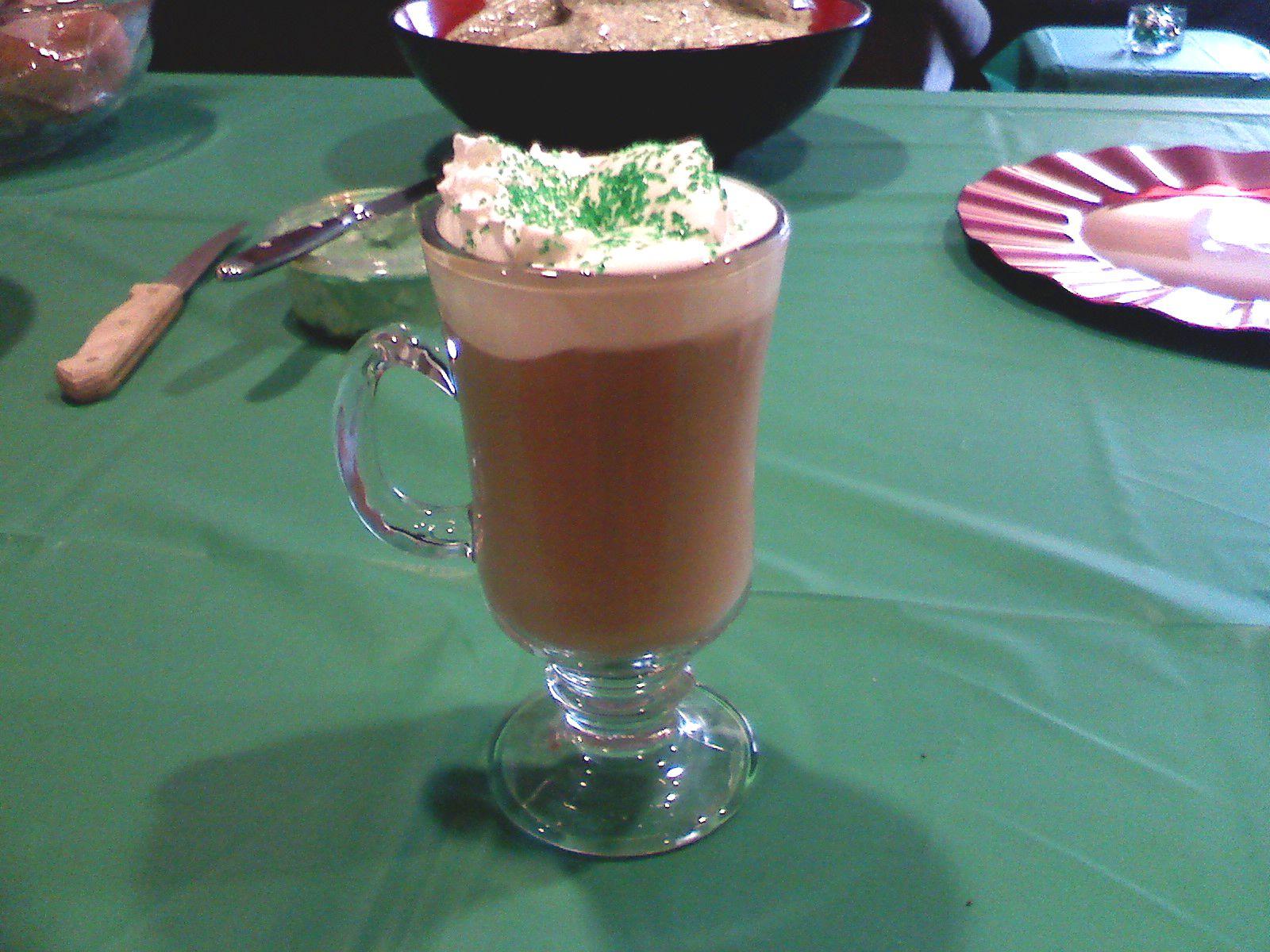 Yummy fresh brewed Irish coffee with homemade whipped cream. Sláinte!