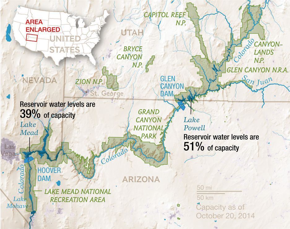 Map of the Lake Mead and Lake Powell regions Great getaways