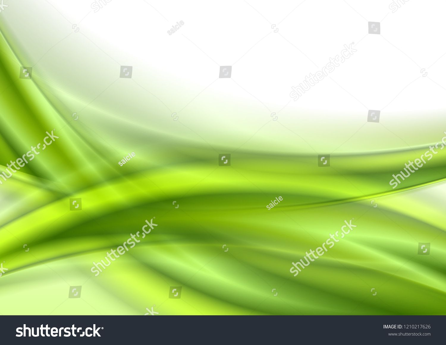 Abstract Green Smooth Shiny Waves On White Background Vector