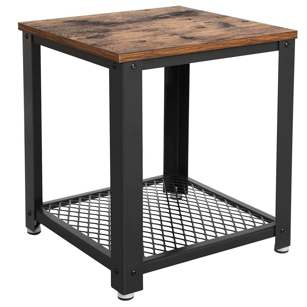 Details about industrial side table vintage 2 tier wooden