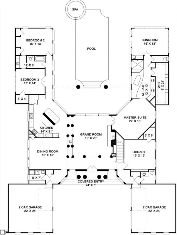 Pin By Sarah Fletcher On Floor Plans Pool House Plans U Shaped House Plans Courtyard House Plans