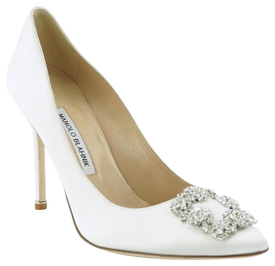 Manolo Blahnik White Satin Hangisi Jeweled Wedding 105mm High Heels Pu Manolo Blahnik Wedding Shoes Manolo Blahnik Manolo Heels