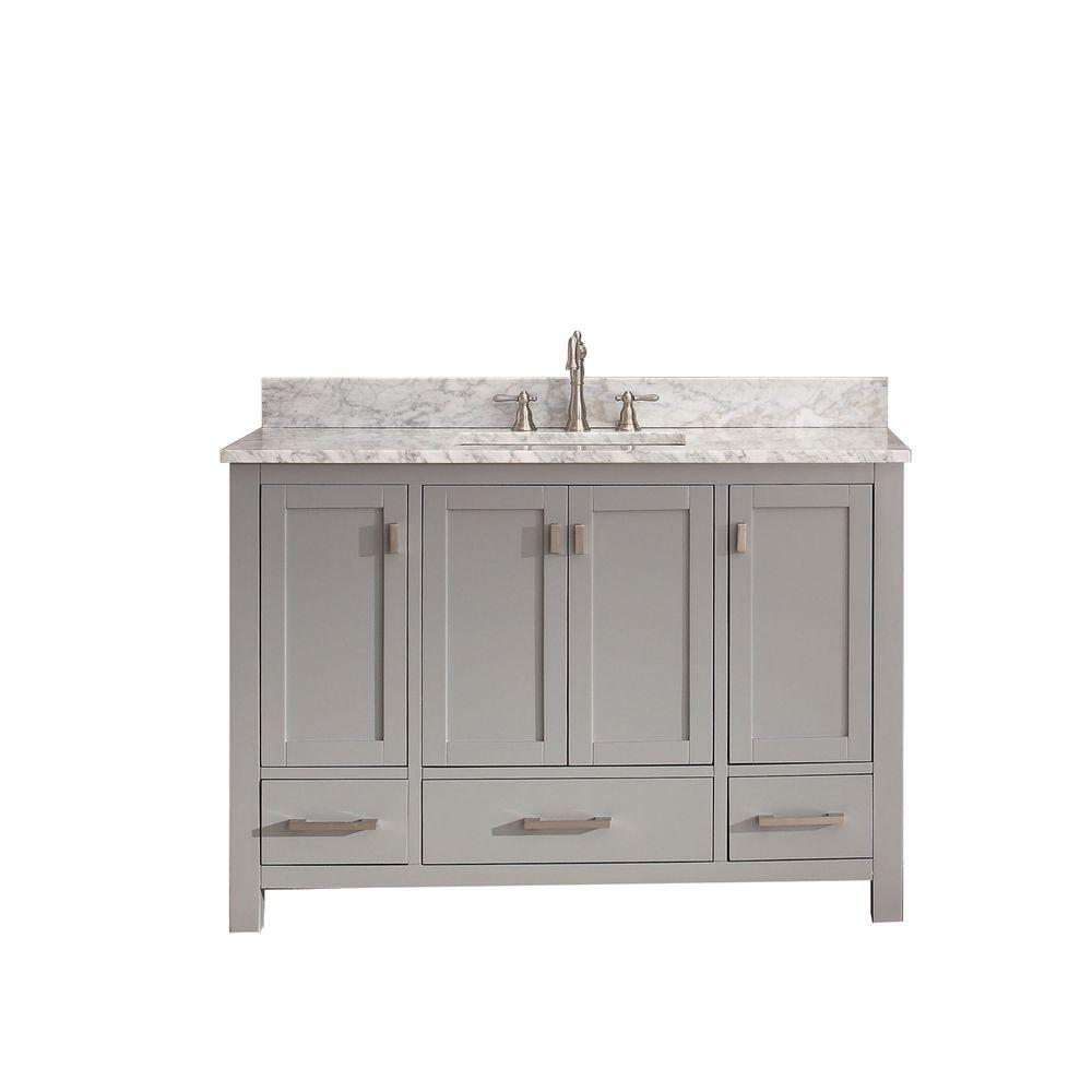 Avanity Modero 48 In Vanity Chilled Gray With Marble Top Carrara White