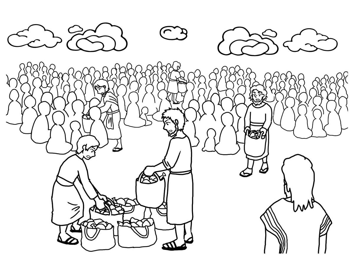 Image Result For Images Jesus Feeds 5000 Fish Coloring Page Coloring Pages Bible Story Crafts