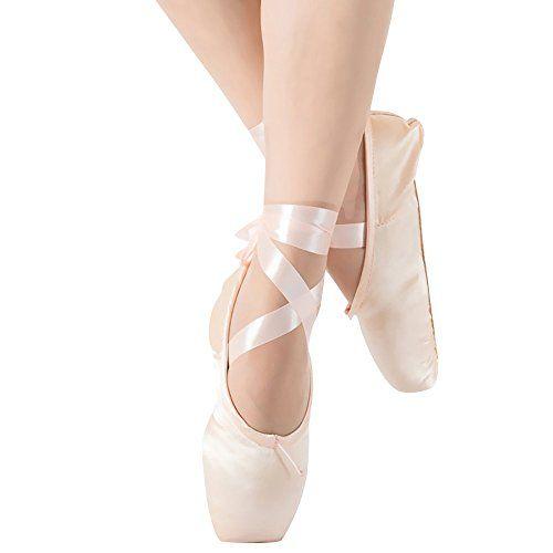 Zapatos de Punta Sat/én Zapatillas de Ballet con Puntera de Gel de Silicona y Cintas para Mujeres y Ni/ñas