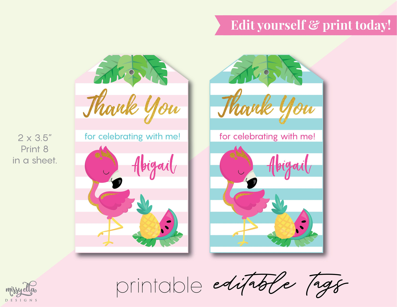 Tropical Pink Flamingo EDITABLE PDF, Digital Flamingo Favor Tags ...