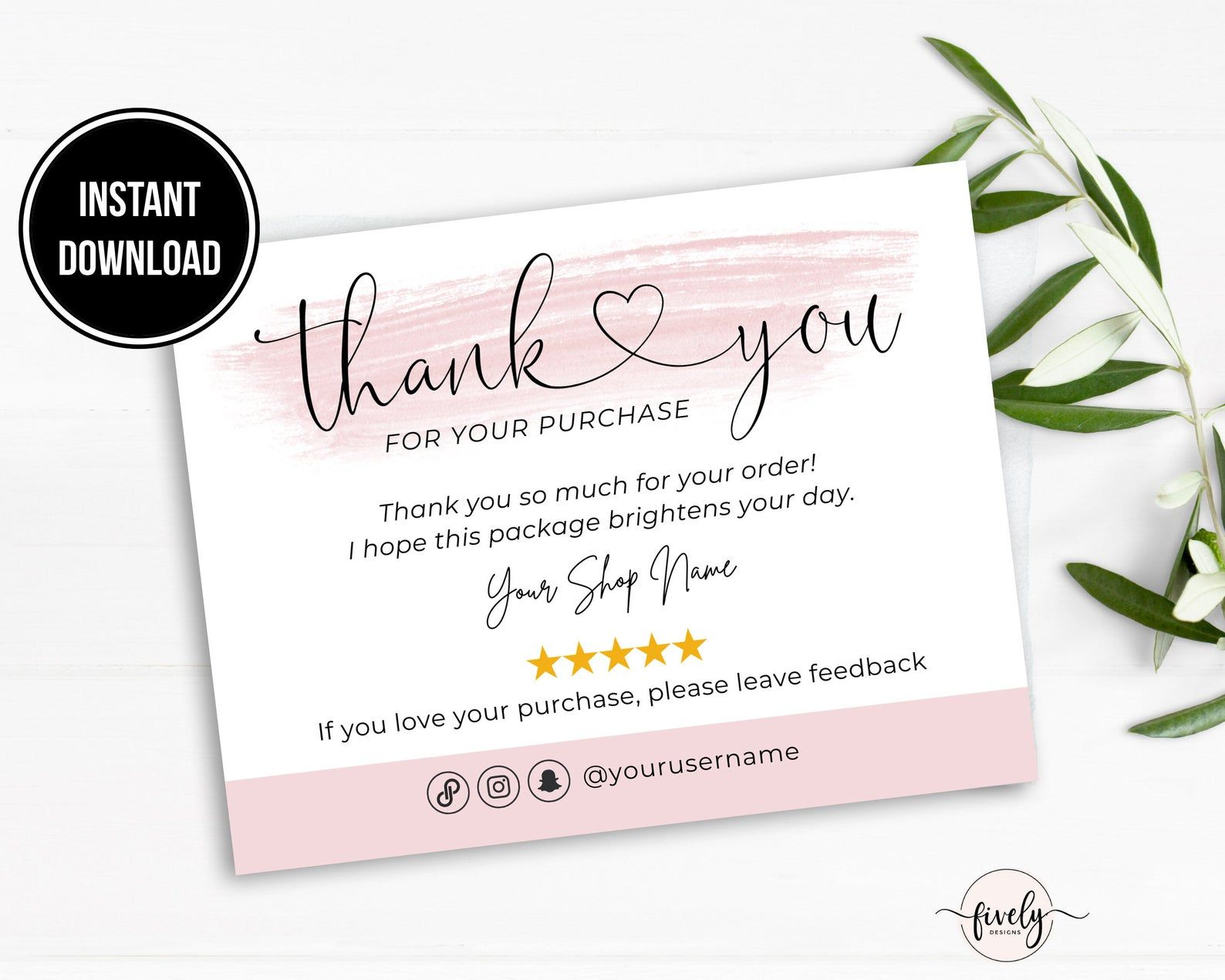 Poshmark Thank You Card Template Business Thank You Note Etsy Thank You Note Printable Thank You Note Ideas Packaging Insert For Customer Thank You Card Template Business Thank You Notes Thank