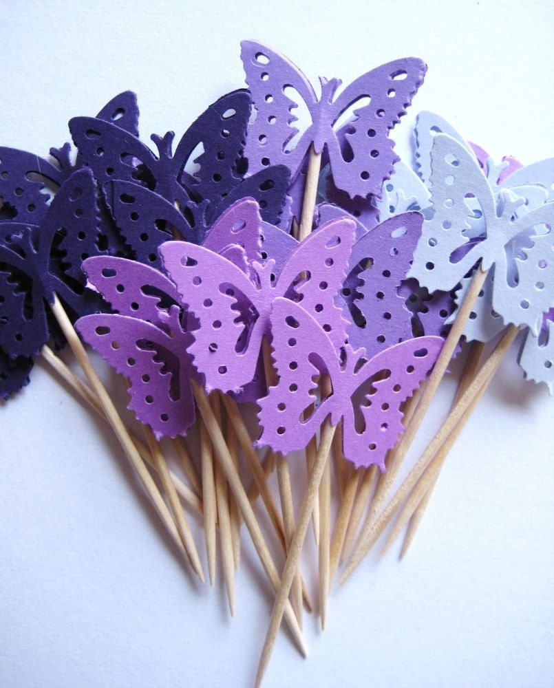 24 mixed purple medium monarch butterfly party picks cupcake