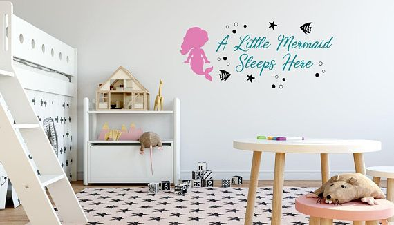 A Little Mermaid Sleeps Here Wall Decal Mermaid Wall Decal