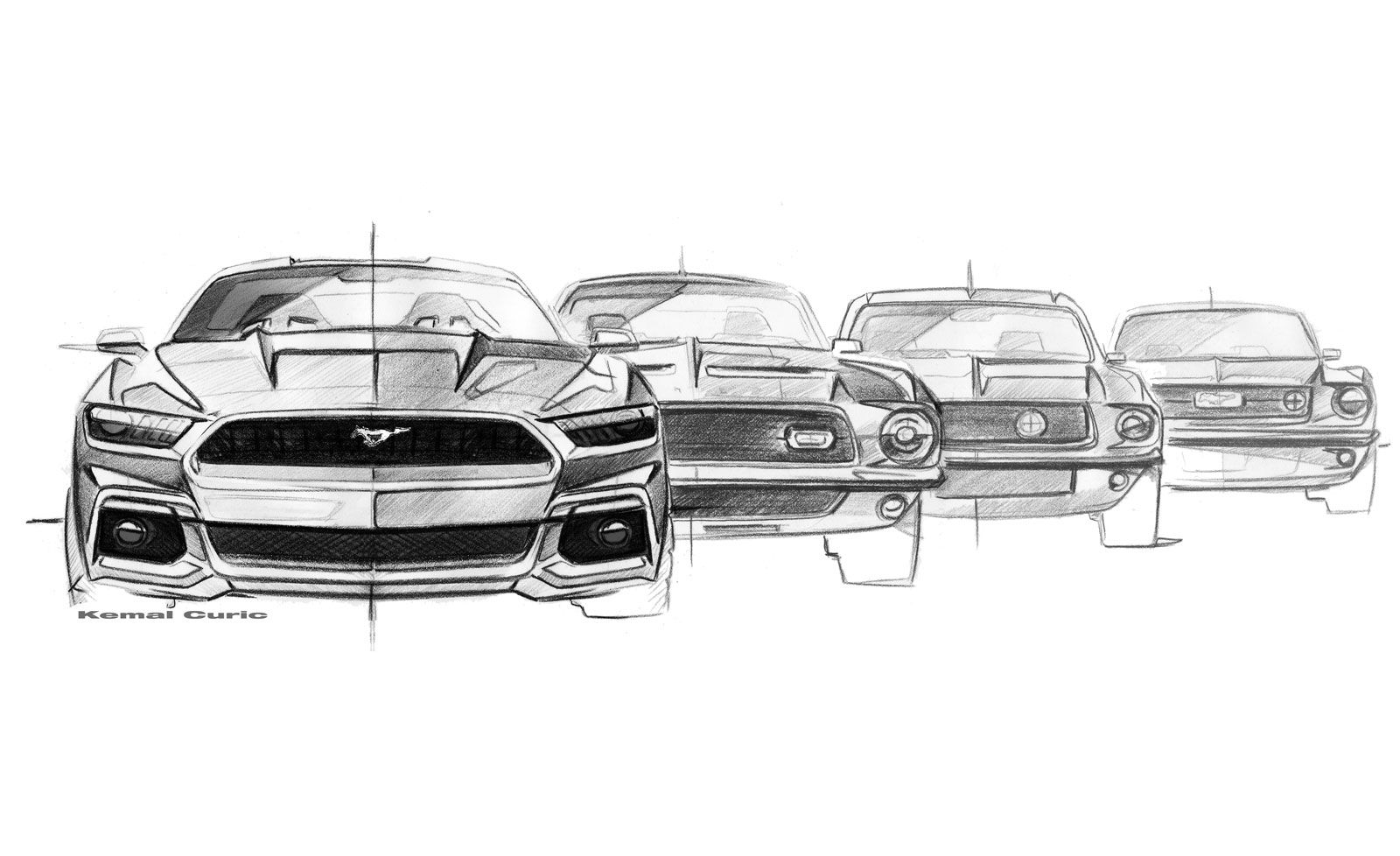 Ford Mustang Design Evolution Sketches By Kemal Curic 2015 Ford Mustang Mustang Art Ford Mustang