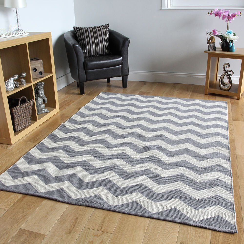 Details About Grey Chevron Flatweave Modern Rugs Small Large Easy Clean Hand Woven Cotton Rug Chevron Rug Living