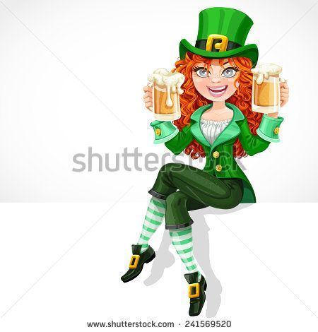Beautiful red-haired girl leprechaun sitting on the banner with space for text and offers a beer