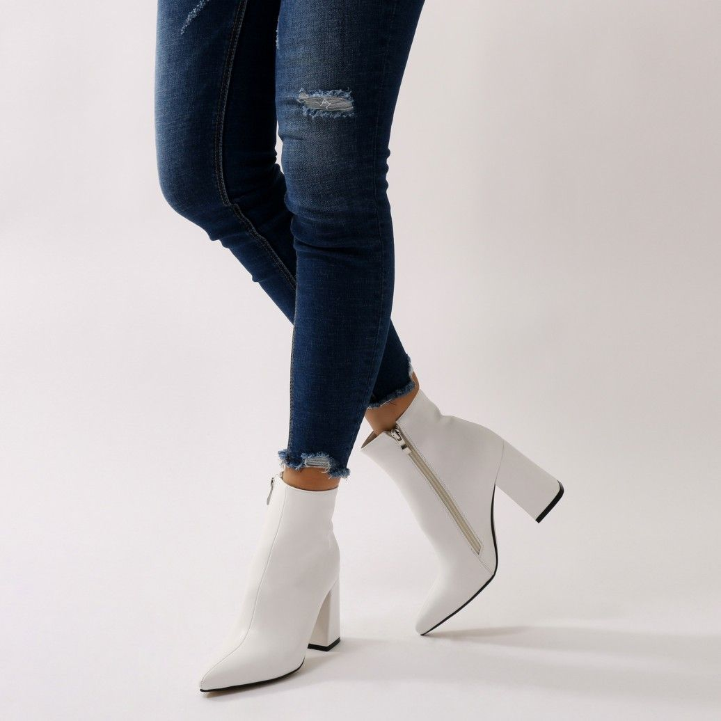 56ea017779 Empire Pointed Toe Ankle Boots in White | Wardrobe Wish List | Boots ...