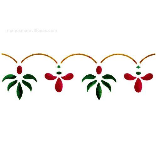 Manos maravillosas plantilla de estarcir cenefas flores - Cenefas para dibujar ...
