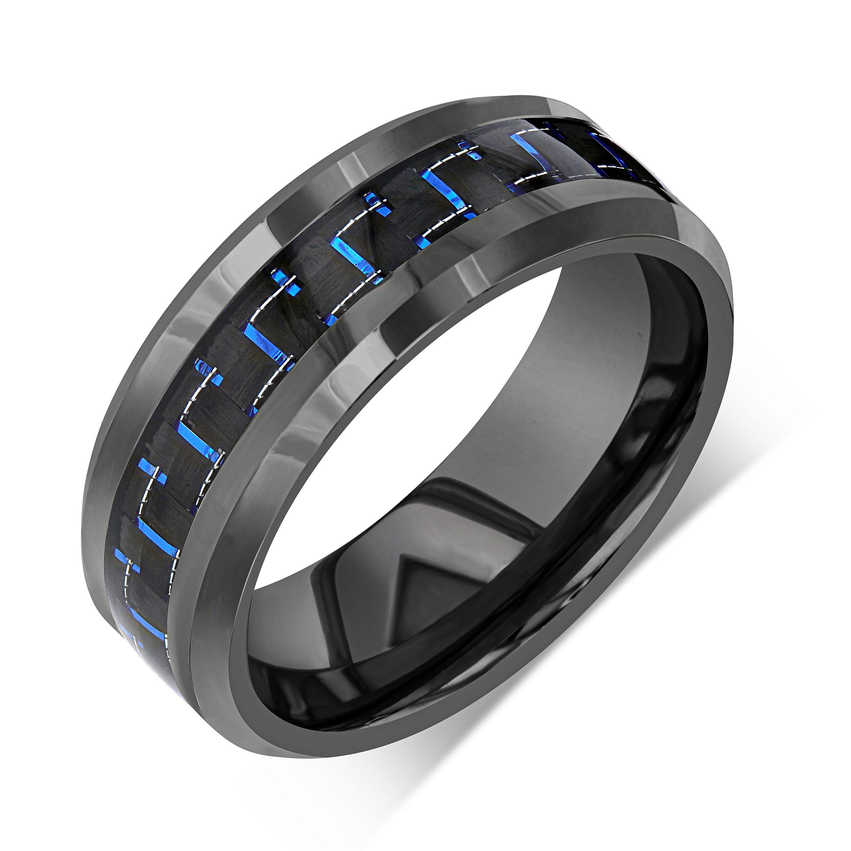 Black tungsten wedding band carbon fiber wedding ring