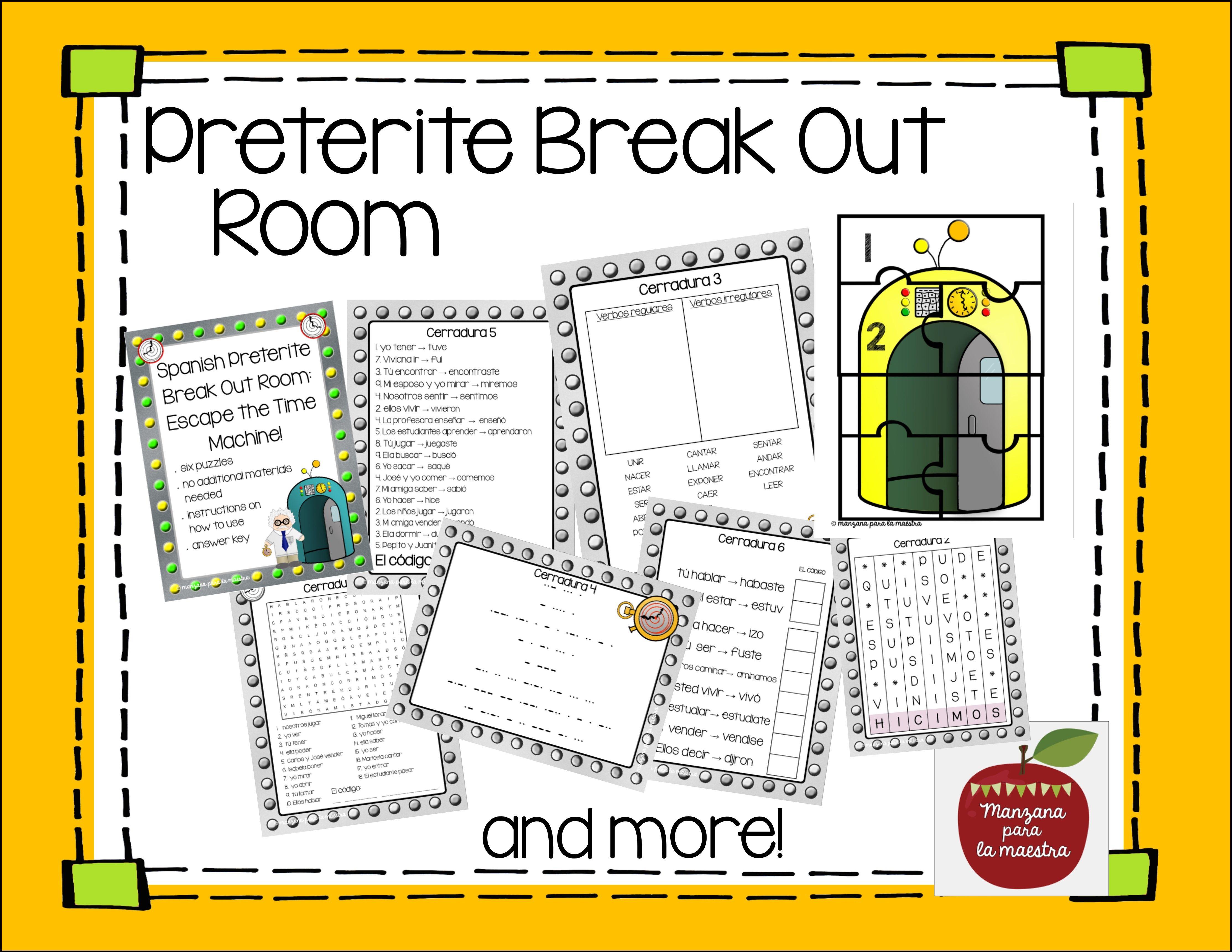 Spanish Preterite Conjugation Break Out Escape By Manzana Para La Maestra Teachers Pay Teachers Preterite Lessons Activities Distance Learning [ 3442 x 4455 Pixel ]