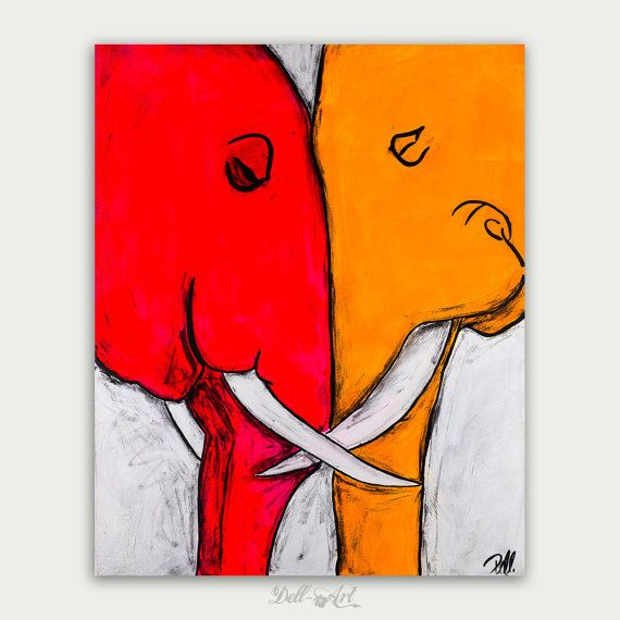 Holiday Sale! Enjoy 25% off on all paintings and free shipping inside the US Use Code: HAPPYHOLIDAYS .................................  Colorful Figure Elephant Art, Abstract Animal Painting, Acrylic On Canvas, Home decor, Wall decor Title: Two Elephants Size: 30x 24x 0.75 Oil on canvas Dated and Signed on the front and on the back of the painting. By Dell  This painting is created on a white wrapped canvas. The edges are painted in white and a final coat of varnish has been applied for…