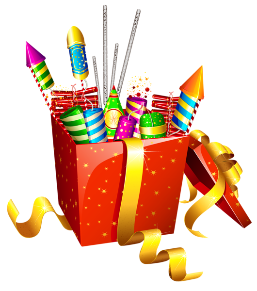 Red Present Box with Fireworks PNG Clipart Happy diwali