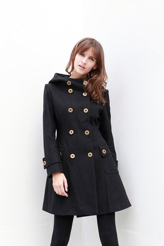 Black Jacket Cashmere Hooded Coat Double breasted Hoodie Wool Coat ...