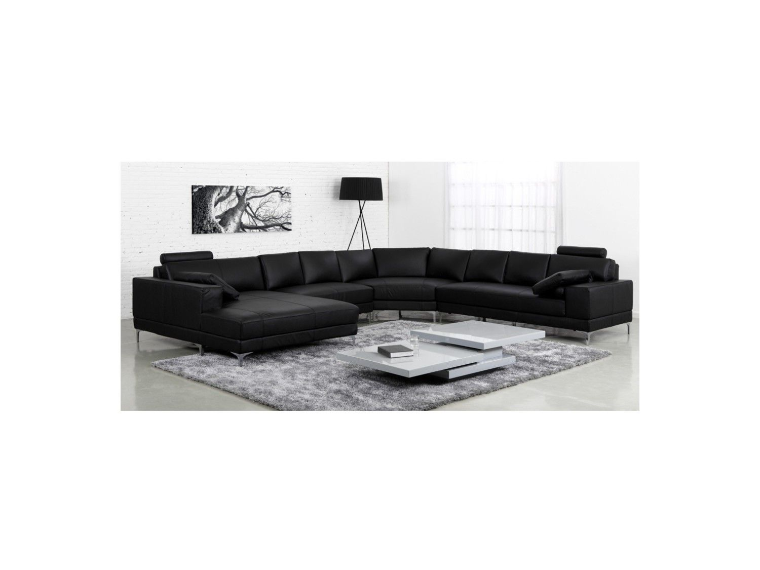 canap panoramique 7 places cuir sup rieur donatello ii. Black Bedroom Furniture Sets. Home Design Ideas