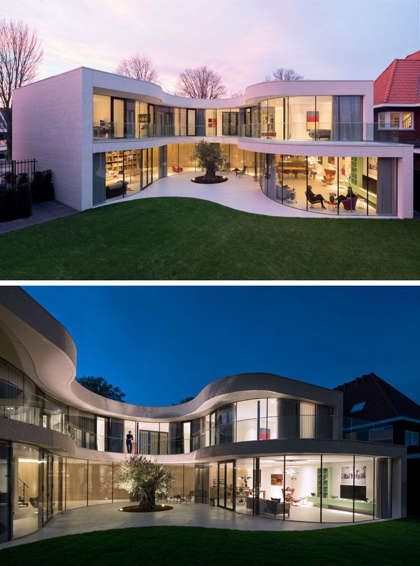 Dutch Curvature Modern House Has A Curved Construction To: MVRDV Architecture Designs A Home Around An Olive Tree In