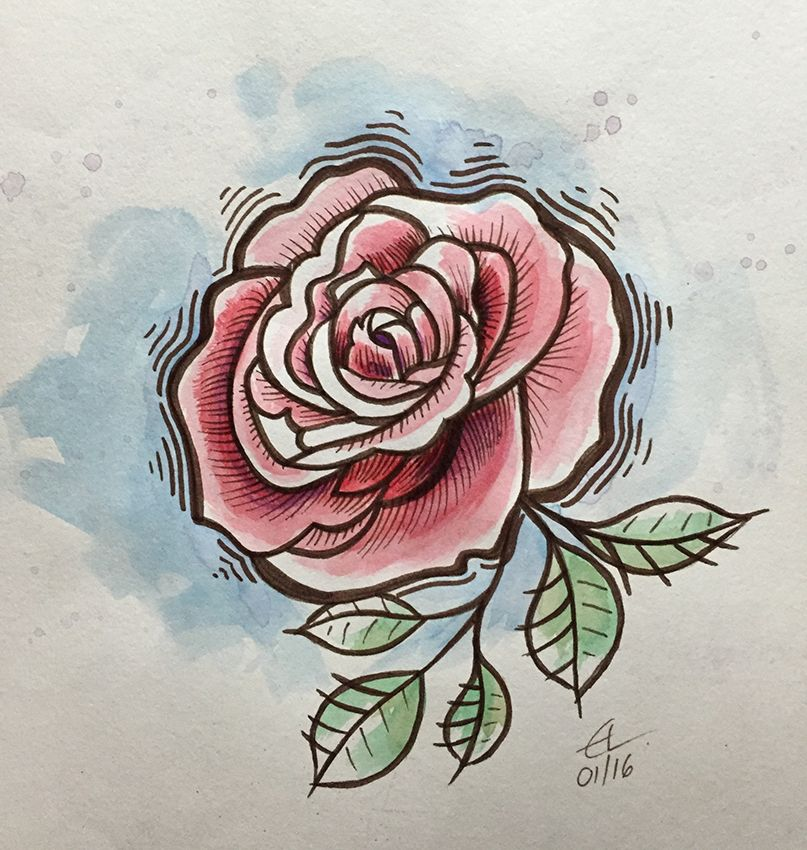 Rose - Watercolour pencils and markers