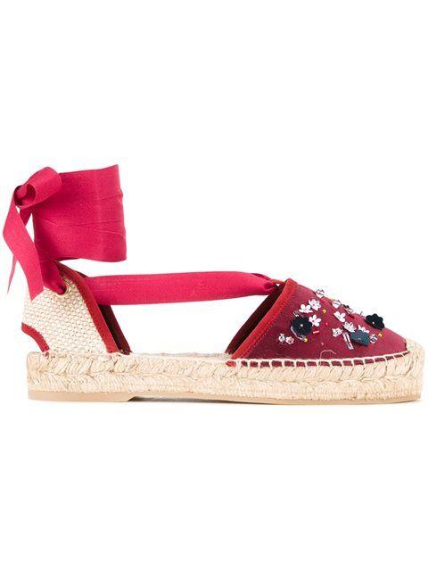 OSCAR DE LA RENTA Embellished Sling Back Espadrilles. #oscardelarenta #shoes #espadrilles