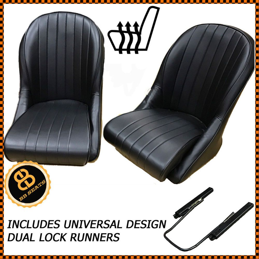 Magnificent Pair Heated Bb Vintage Classic Car Bucket Seats Low Back Pabps2019 Chair Design Images Pabps2019Com