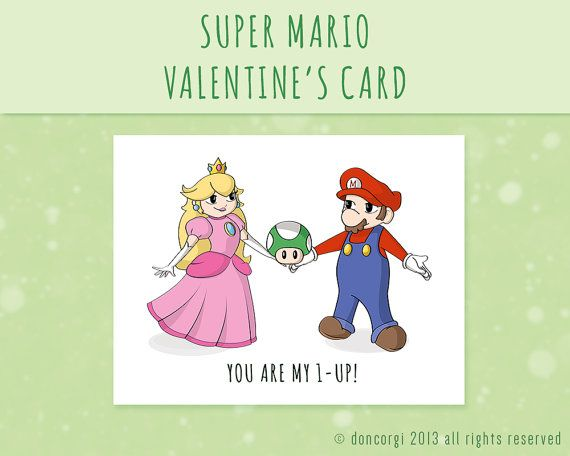Super Mario Valentine Card Printable Digital Greetings Card – Valentine Cards for Her