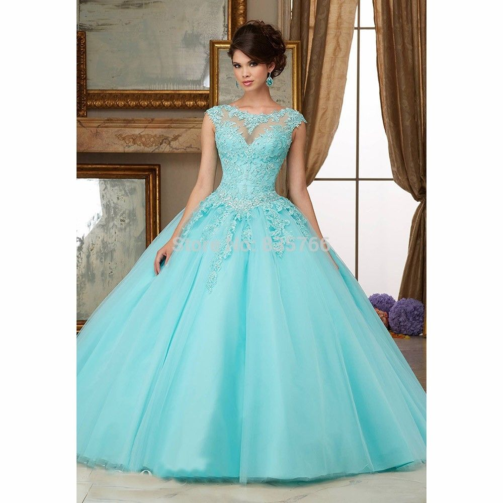 Free Shipping] Buy Best Mint Green 2017 Ball Gown Cap Sleeves Floor ...