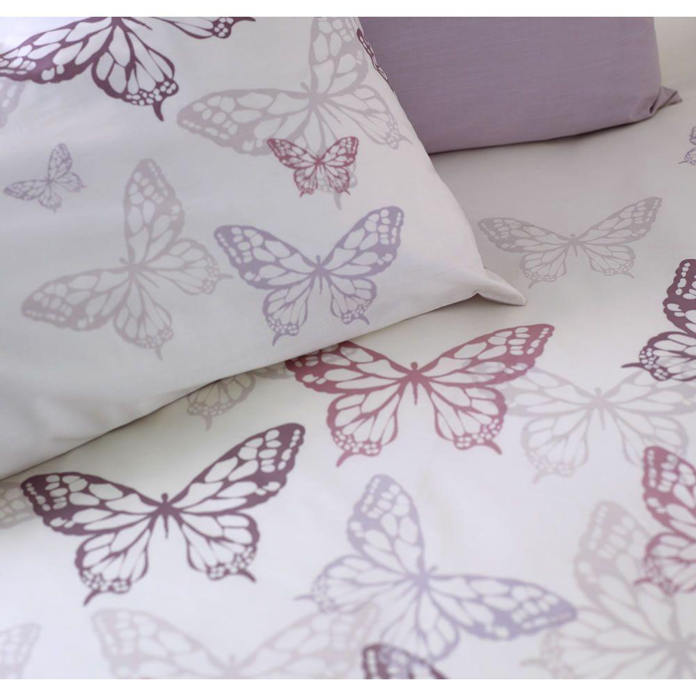 Wilko Butterfly Print Duvet Set Purple Double