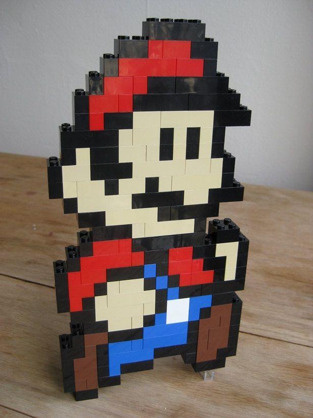 LEGO custom kit: Super Mario Bros 3 Mario running. $30.00, via Etsy.