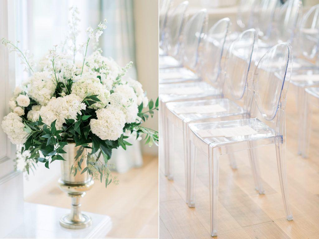 large white ceremony arrangements, gold and white wedding