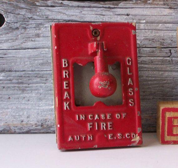 How To Break Into A Bathroom Door: Vintage Fire Alarm-Wall Alarm-In Case Of Fire Break Glass