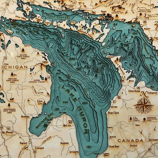Explore The Underwater Topography Of North American Lakes With These Laser Cut Wood Maps By Below