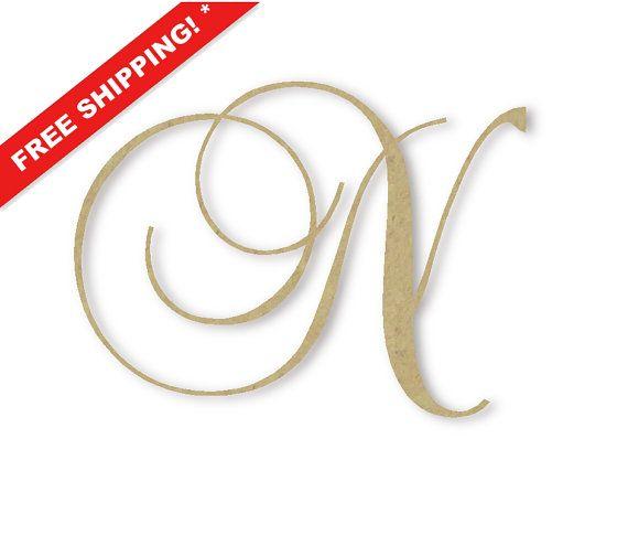 wooden monogram letter n large or small unfinished cursive
