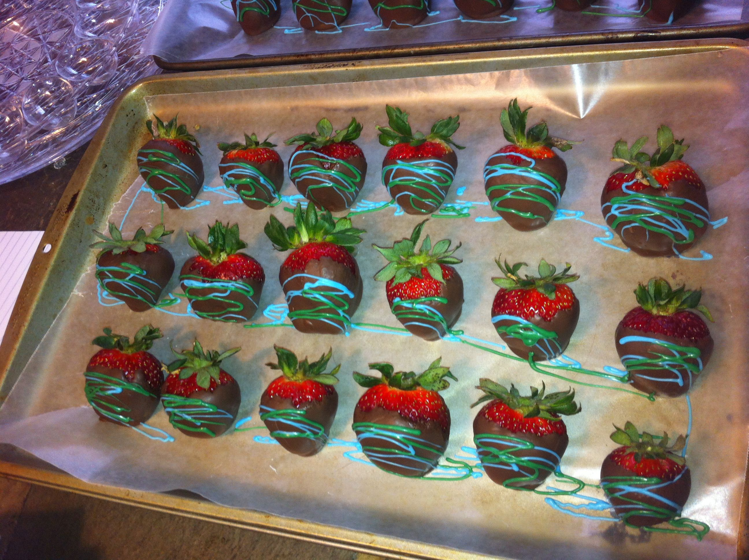 Chocolate covered strawberries baby shower boy