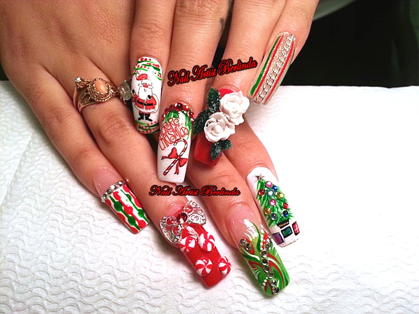Ho Ho Ho, Merry X-Mas Nails designed by Nail Artist Berlinda www ...